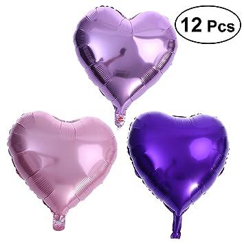 Amazon.com: NUOLUX 12 piezas corazón globos de aluminio 18 ...