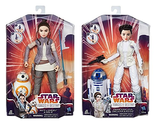 Forces of Destiny : Rey of Jakku and Princess Leia Organa Adventure Set with BB-8 and R2-D2 Bundle   B07B7LB97L