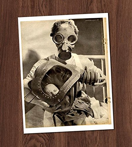 Creepy Nurse Baby Gas Mask Vintage Art Sepia Photo 8x10 Wall Art Weird Halloween Decor -