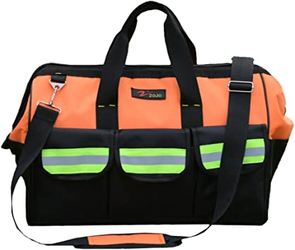 ZOJO Reflective Tool Bags For Men 16 inch Wide Mouth 18 tool pockets 1, Blue