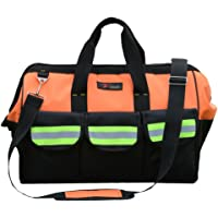 ZOJO Reflective Tool Bags For Men & Women 16 inch Wide Mouth (Large, Orange)
