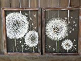 Twin Dandelion,Make a wish, recycled ,hand painted on window screen