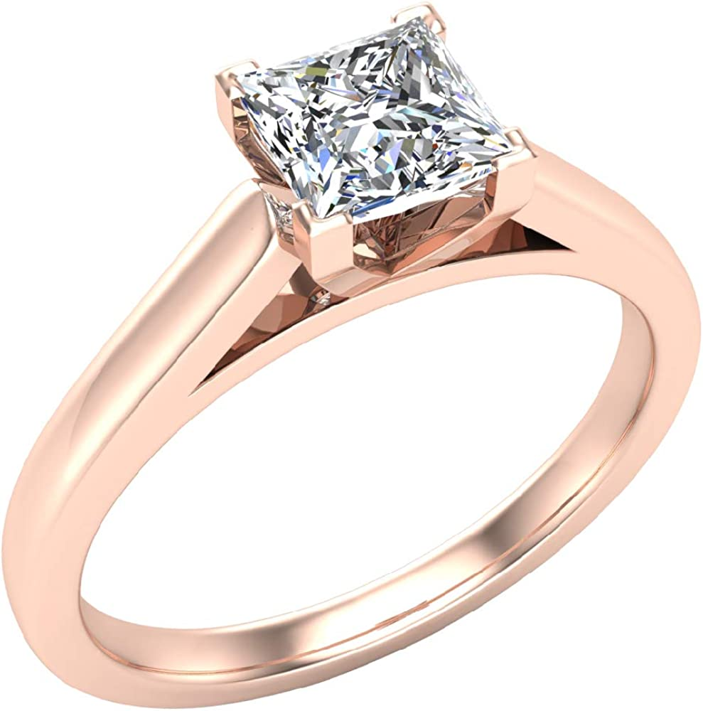 3 4 Ct Engagement Rings For Women Her Princess Cut Diamond Solitaire Ring 18k Gold Gia Igi Certified G Si Amazon Com