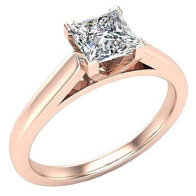 639ddec9d 0.75 carat G I1 Princess Cut Diamond Engagement Ring for women 18k Rose Gold  V-