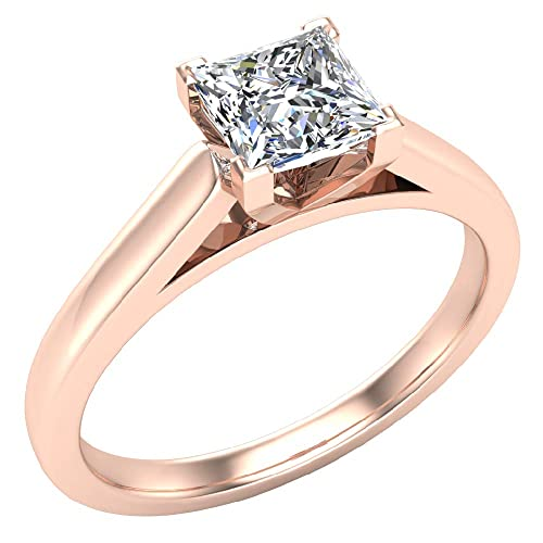 8858026ee42968 0.50 ct H SI Diamond Engagement Ring for women Princess Cut 4 V-prongs  Solitaire Setting 14k Gold: Amazon.ca: Jewelry