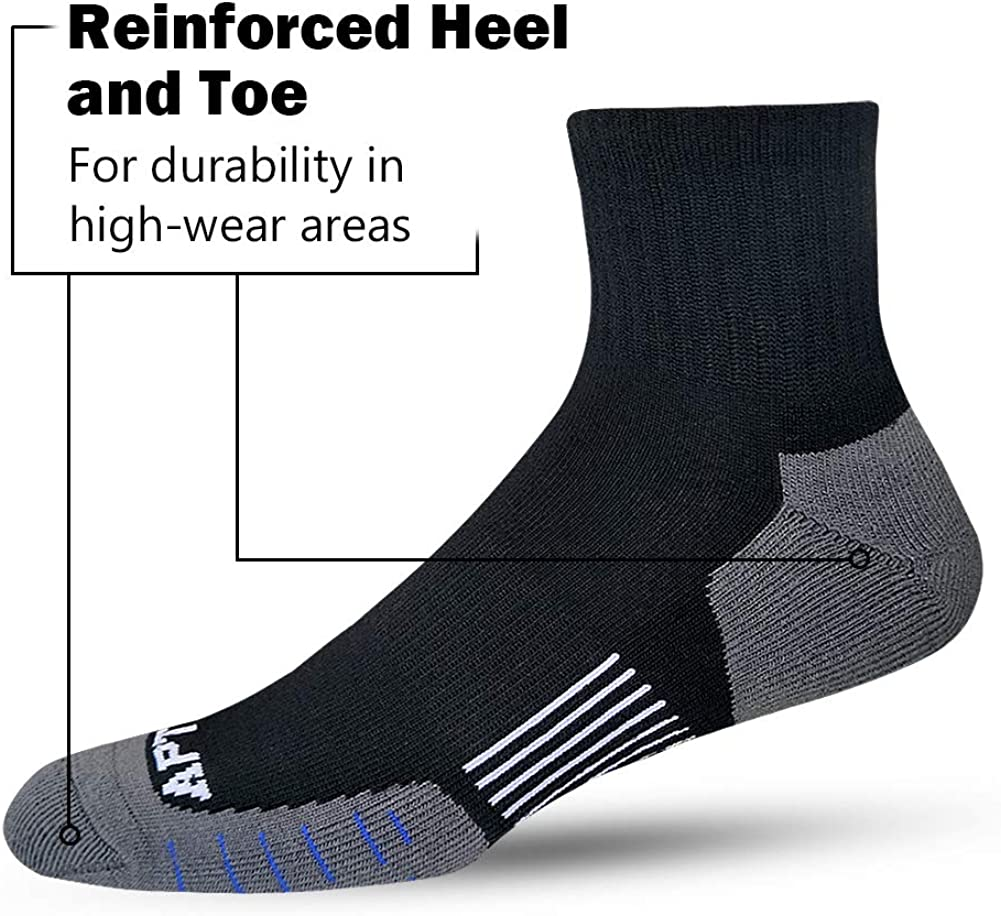 APTYID Mens Quarter Athletic Socks Performance Cushioned for Running, Hiking, Training (6 Pack)