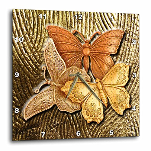 3dRose DPP_128812_3 Gold Embossed Background with Accents and Three Beautiful Butterfliesin Golds, Yellows and Copper. Wall Clock, 15 by 15-Inch