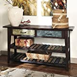 Elegant Rectangular Brown Sofa Table, Perfect In The Entryway, Hall, or Behind Your Sofa, Made From Select Veneers and Hardwood Solids in a Medium Brown Rustic Finish, Spacious Drawers