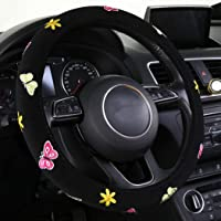 """SHAKAR Embroidery Cute Butterfly Steering Wheel Covers- Coloful Delux Steering Covers,Universal 15.2"""" (Black)"""
