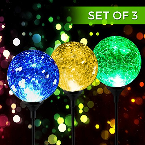 Solar Powered Crackle Glass Ball- 7 Color Changing Stake Lights- Set of 3- Weatherproof Design- Decorative Landscape Lamps- Wireless Outdoor LED Accent Lighting- Best Decor for Garden/Yard/Path (3)