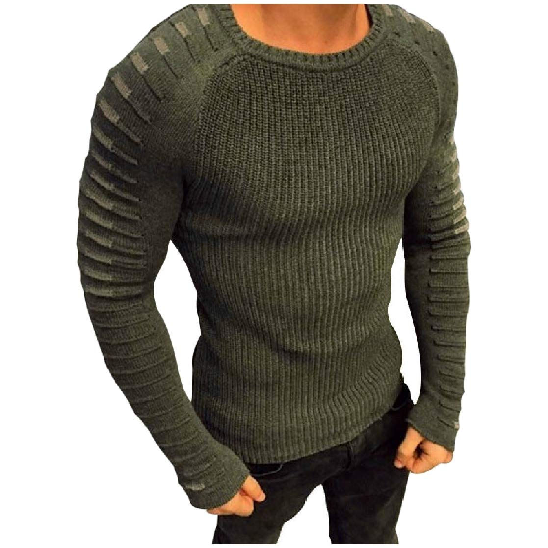 YUNY Mens Long Sleeve Tops Round Collar Classic Fall /& Winter Pullover Sweaters Army Green M