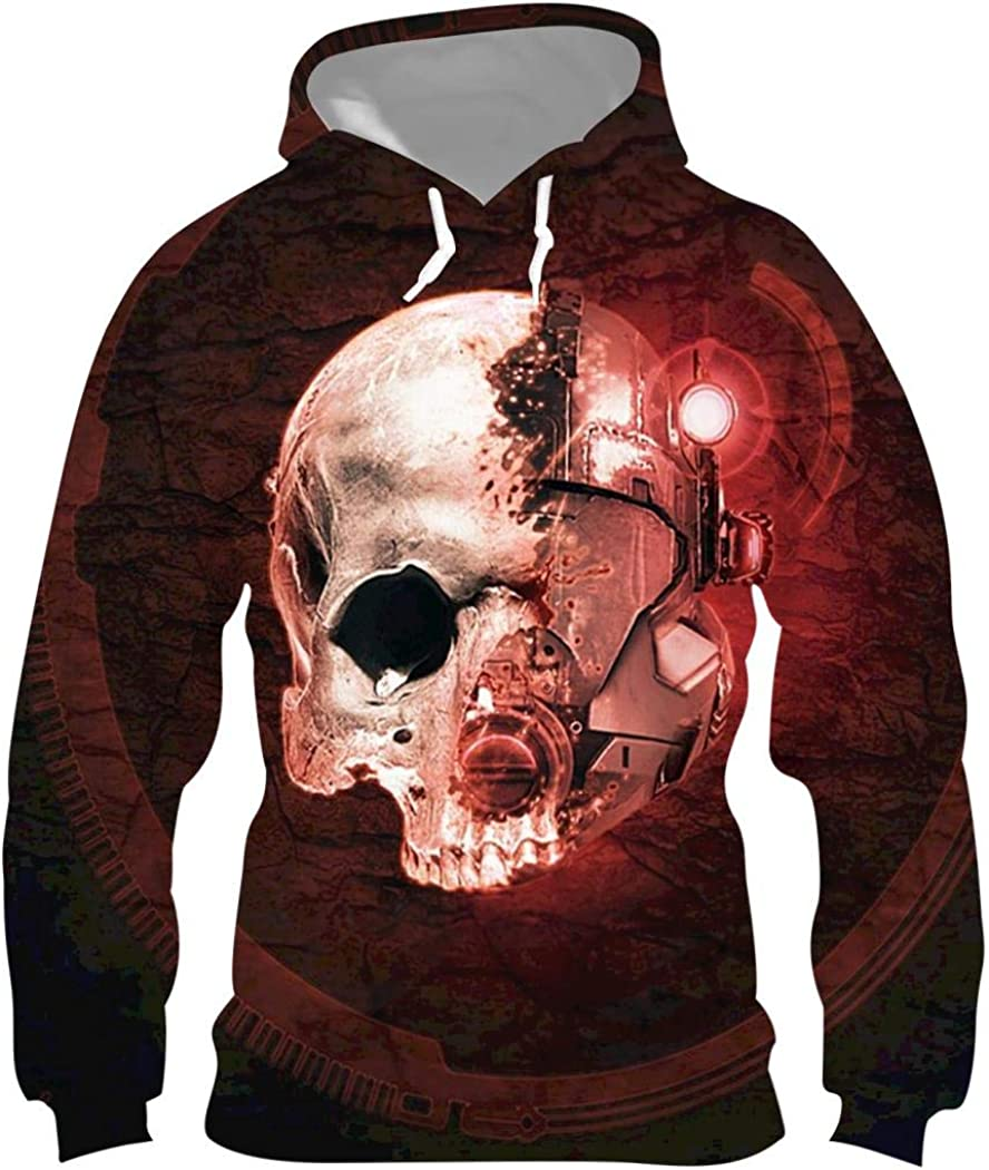 DDSZTD Mechanical Skeleton Mens Hoodie Graphic 3D Printed Fashion Pullover Long Sleeve Sweatshirt with Pocket 3XL