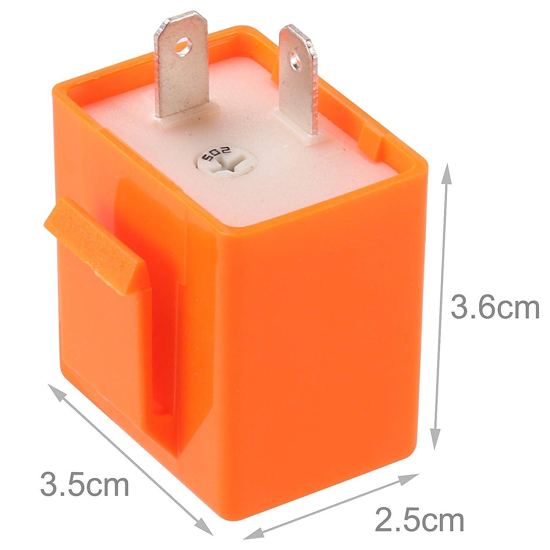 Kinstecks 2Pin Blinkrelais Geschwindigkeit einstellbar 12V Motorrad Blinker LED Blinker f/ür Motorrad LED Blinker Blinker