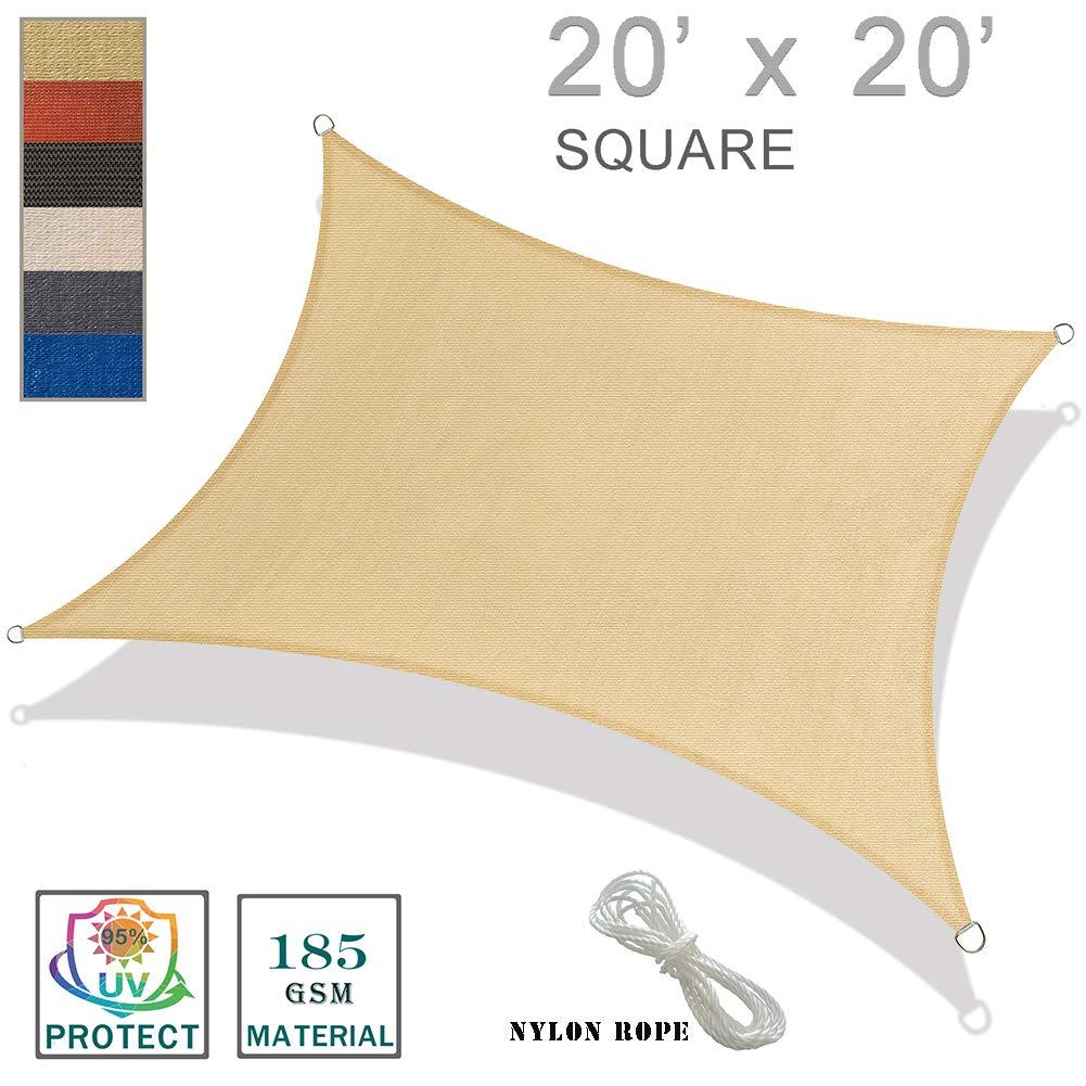 SUNNY GUARD 20' x 20' Sand Square Sun Shade Sail UV