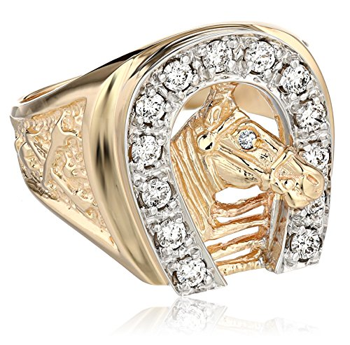 Men's 14k Two-Tone Gold Diamond Horseshoe Ring (1/2 cttw, H-I Color, I1-I2 Clarity), Size (Mens Diamond Horseshoe Ring)