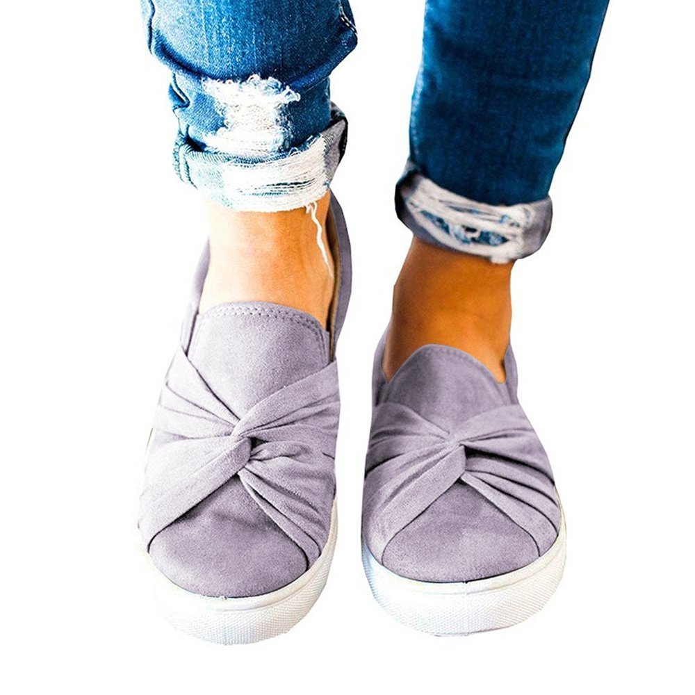 Womens Slip On Top Ruched Knot Loafer Shoes Casual Flatform Canvas Sneakers