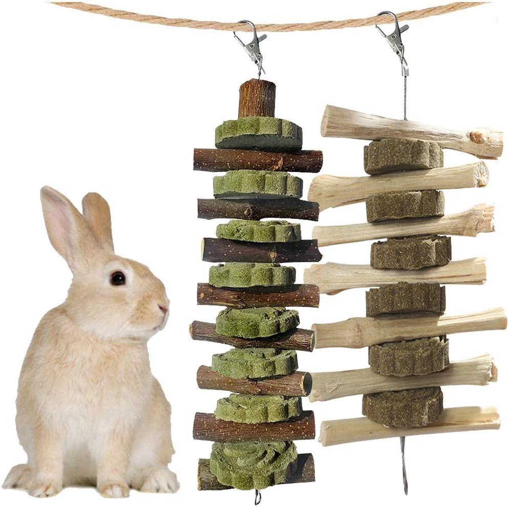 kathson Bunny Chew Toys for Teeth, Guinea Pig Wood Chews Chinchilla Apple Wood Bamboo Sticks Rabbit Organic Treats for Rodent Small Animals
