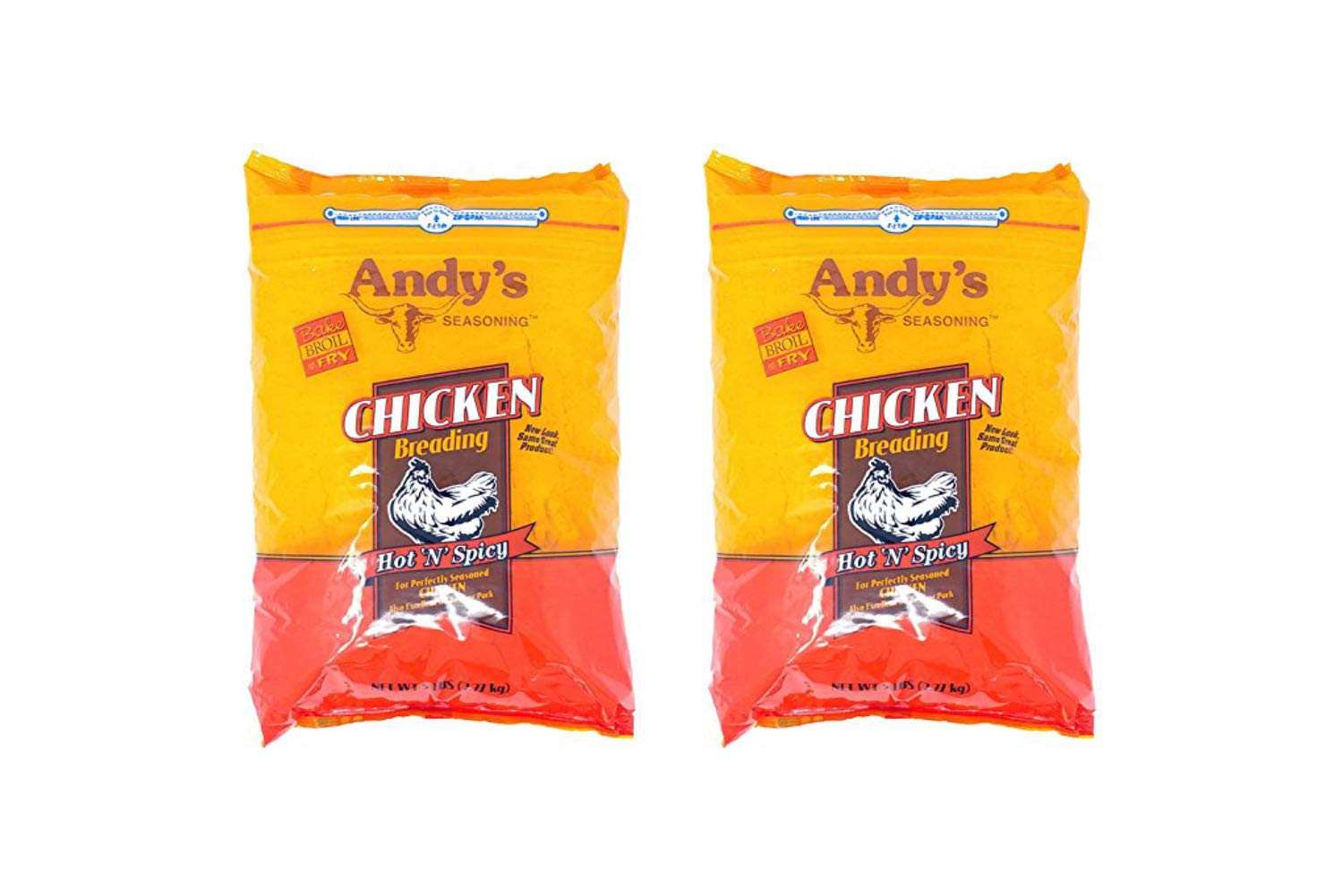Andy's Seasoning Hot n Spicy Chicken Breading 80 Ounces Bag (2 Pack)