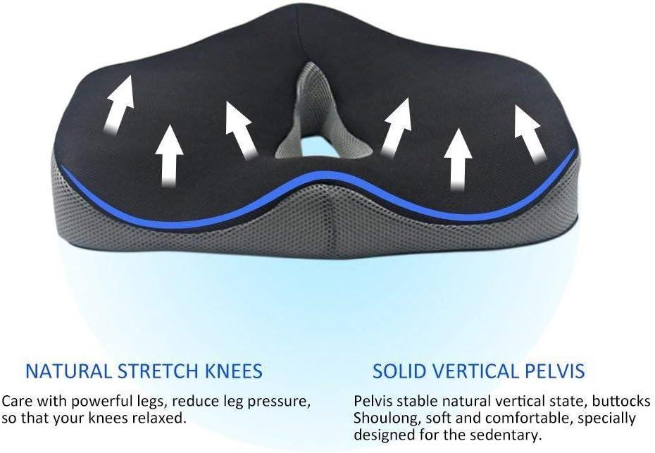 Ecloud Shop/® Office Chair Cushion Memory Foam Nonslip Seat Cushion Pad Coccyx Support for Hip Pain Tailbone Back Pain Sciatica