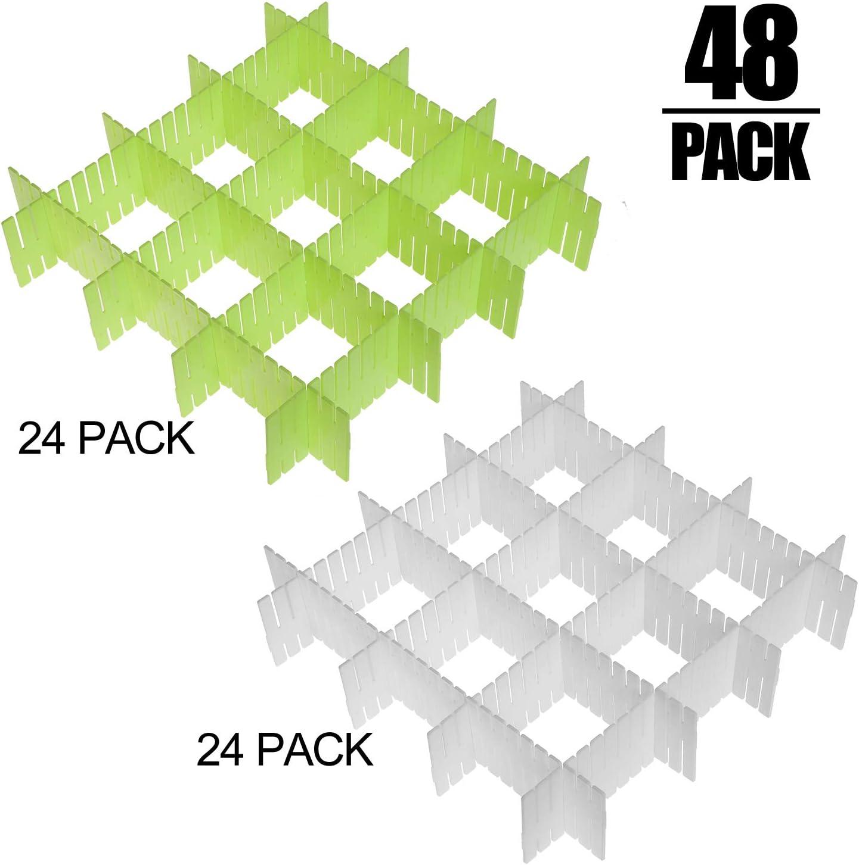 KINJOEK 48 PCS DIY Drawer Divider Organizers, Plastic Desk Drawer Separators for Organizing Drawers Desktop, 24 Green, 24 White