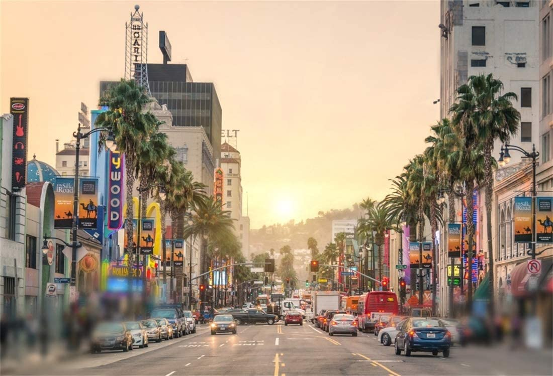 8x6.5ft Hollywood Boulevard Backdrop American City Rush Hour Traffic Night View Polyester Photography Background Cars Street Lamp Personal Artistic Photo Film Shoot Video Studio Los Angeles