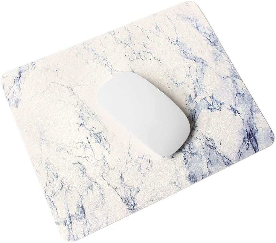 MasiBloom Premium PU Leather Mouse Pad Waterproof Non-Slip Desk Mice Mat for Apple Magic Mouse Microsoft Surface Mouse, Laptop Wired / Wireless Bluetooth Mouse (1 pcs, Marble- White with Black)