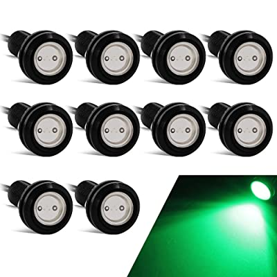 Yifengshun 18mm Eagle Eye Led Lights High Power 9W Green Daytime Running Light Car Motorcycle DRL Car Accessories Marker Light Fog Lamp Backup Clearance Marker Light(10pcs): Automotive
