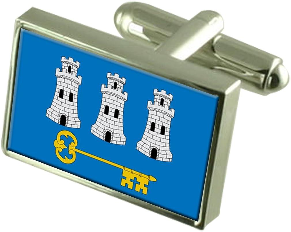 Havana City Cuba Flag Cufflinks Engraved Box