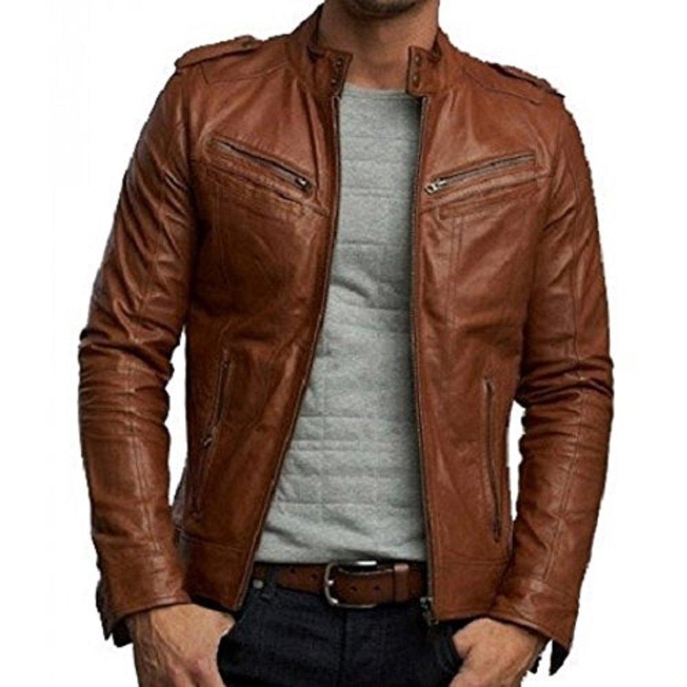 NBENTERPRISES Brown Leather Men's Jacket NBE-11013