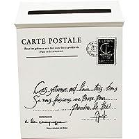 Yardwe Buzón de Hierro Metal de Exterior Montado en Pared Estilo Vintage para Correo Cartas Postal y Periódico (Blanco)