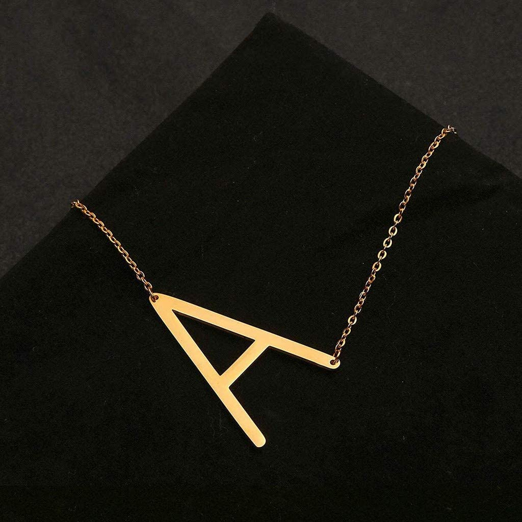 YOMXL Sideways Large Initial Necklace Gold Big Letter Script Name Stainless Steel Pendant Necklace for Women Gift