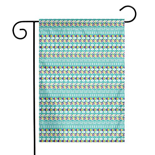 Geometric Garden Flag Modern Ethnic Mix with Triangles Wavy Ovals Stripes Pattern Premium Material W12 x L18 Marigold Turquoise Purple -