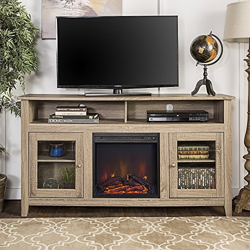 New 58 Inch Wide Highboy Fireplace TV Stand-Reclaimed Looking Finish (Fireplace Stand Tv Highboy With)