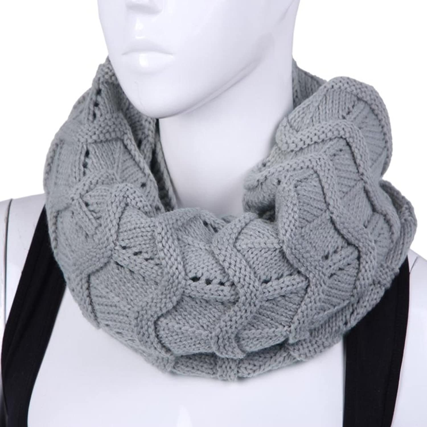 Gray Good Quality Cotton Knitted Scarf T2-096