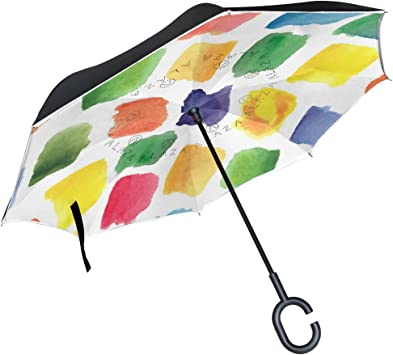 AHOMY Inverted Reverse Umbrella Marble Pattern Texture Windproof for Car Rain Outdoor