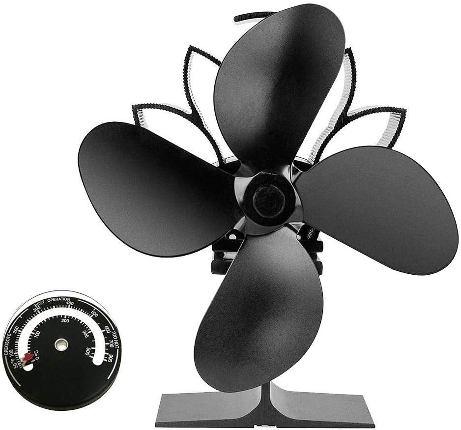 Ventilador De Estufa De 4 Palas Alimentado por Calor, Ventilador De Potencia Térmica De Chimenea De Leña Ventilador De Horno De Calor De Caliente De Calefacción para Chimenea De Leña