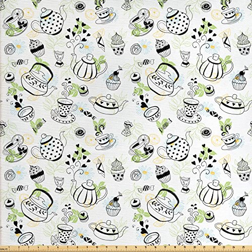 Ambesonne Tea Party Fabric by the Yard, Hand Drawn Doodle Style Teapots Cups and Sweets Hearts Flowers Drinks, Decorative Fabric for Upholstery and Home Accents, Black White Green (Teapot Sweet)