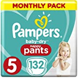 Pampers Baby-Dry Nappy Pants Size 5 Walker (12kg-17kg), 132 Nappy Pants, Monthly Pack
