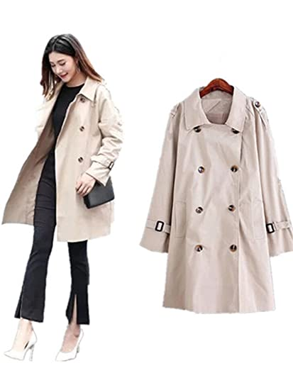 370c4a433d604 Amazon.com  LOKOUO Korean women trench coat double breasted loose long  coats womens autumn windbreaker plus size 5XL feminino  Clothing