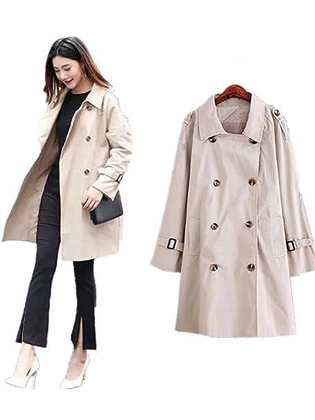 672f231ef3a Amazon.com  LOKOUO Korean women trench coat double breasted loose long  coats womens autumn windbreaker plus size 5XL feminino  Clothing