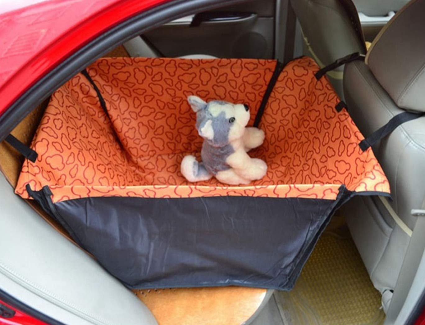 orange SENERY Pet Dog Car Seat Cover,Foldable Dog Car Rear Back Seat Cover Mat Blanket Pets Hammock Cushion Predector