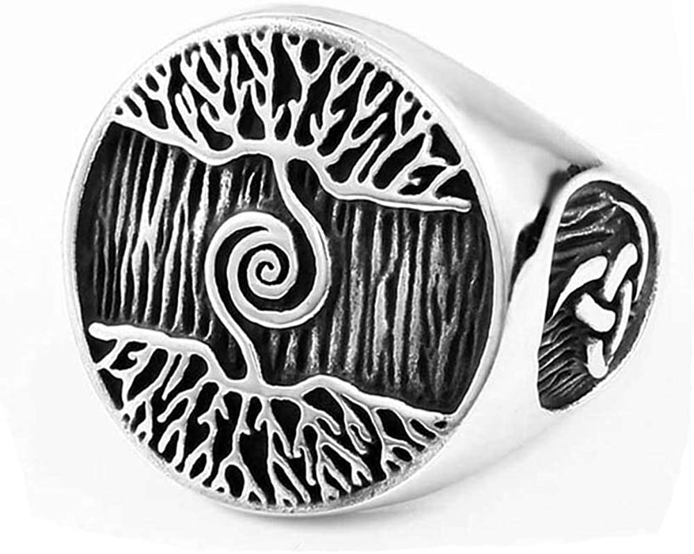 ZMY Home Mens Fashion Jewelry Stainless Steel Rings, Mysterious Tree Vikings Ring for Men