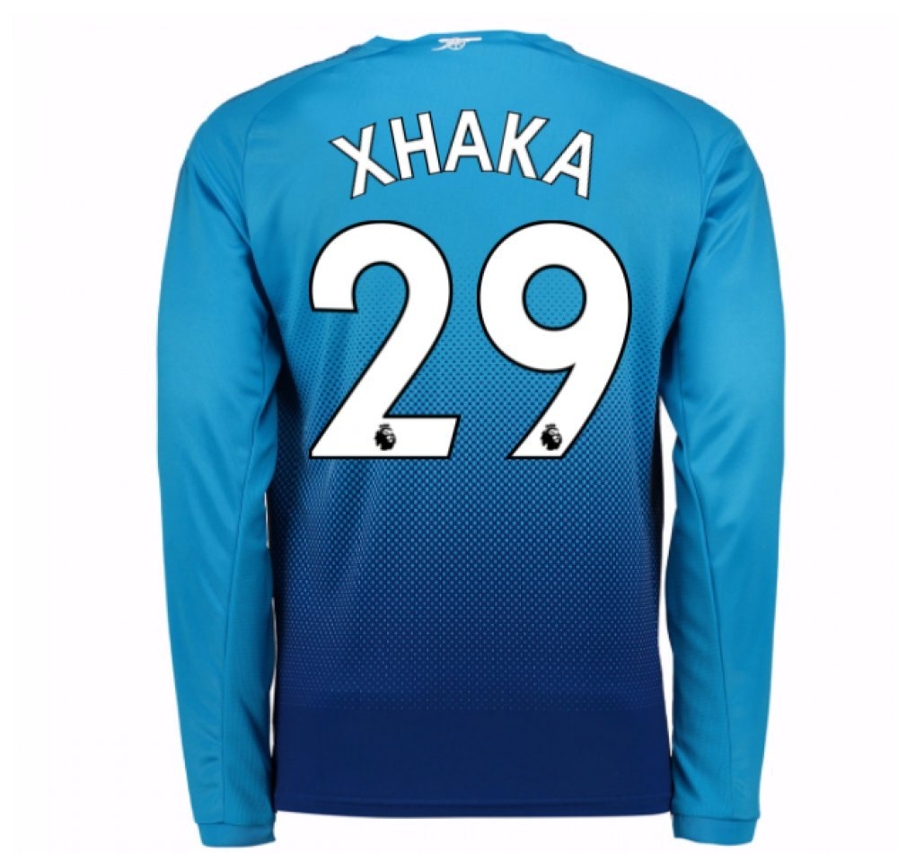 2017-2018 Arsenal Away Long Sleeve Football Soccer T-Shirt Trikot (Granit Xhaka 29) - Kids