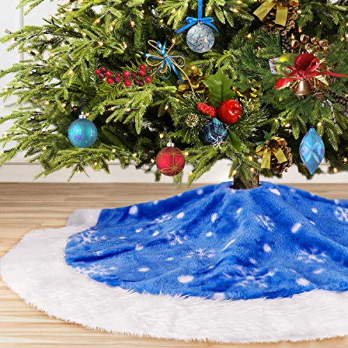yuboo Blue Christmas Tree Skirt,50 inches Plush Fur with White Snowflakes for Christmas for Xmas Party Holiday Decorations