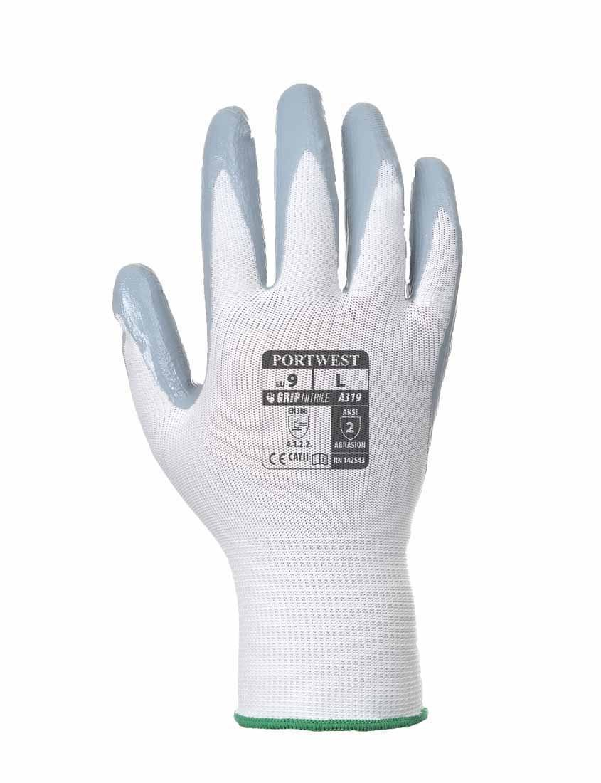 Portwest - Flexo Grip Nitrile General Handling Glove (1 Pair Retail Bags) Grey Medium A319GRWM