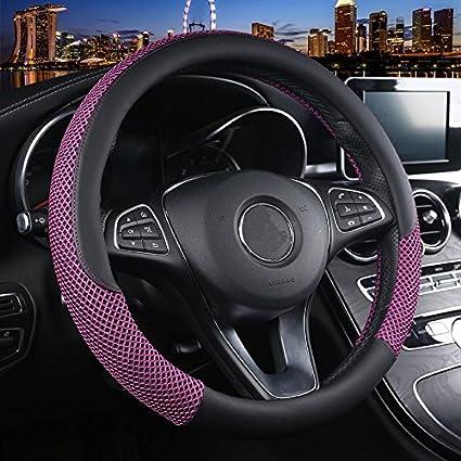 Istn Unisexs Anti-skid Breathable Ice Silk Steering Wheel Cover 38cm Beige Cofee
