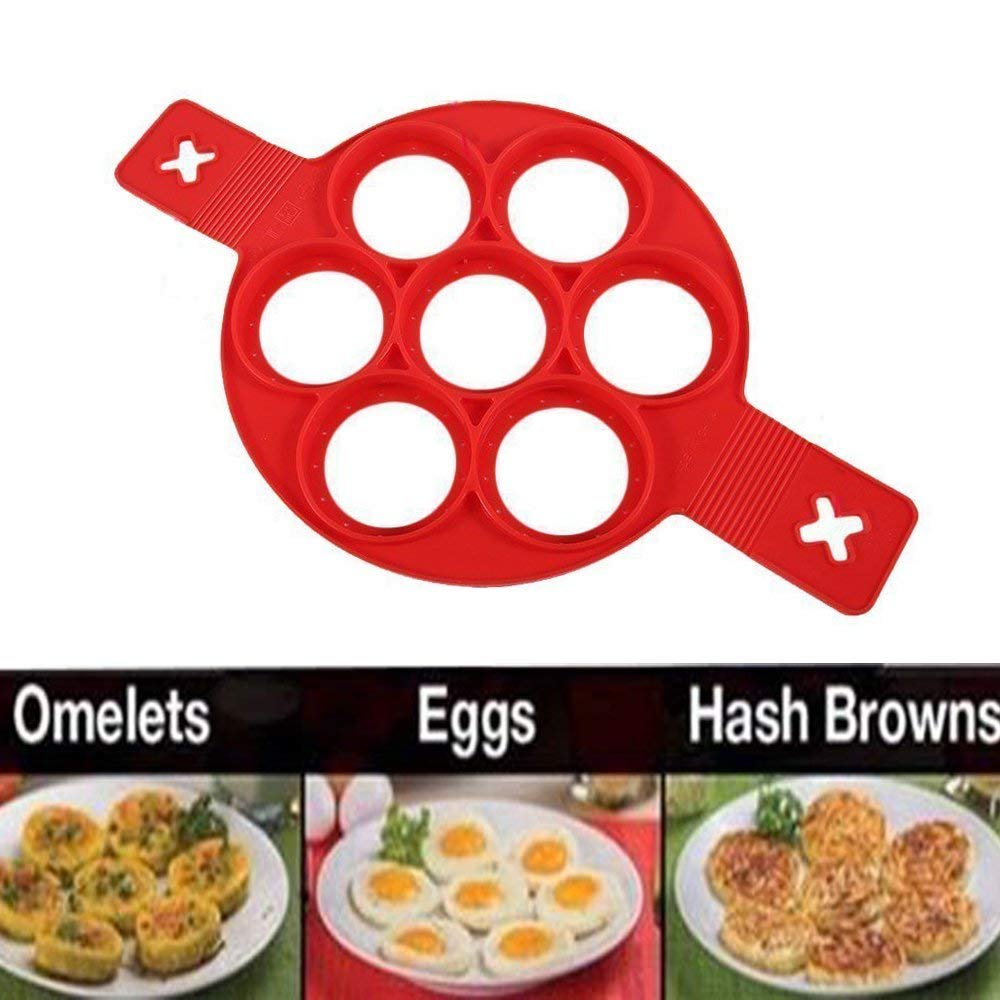 Hofumix Pancake Mold Silicone Baking Mould Nonstick Pancake Ring Mold Heat Resistant Fried Egg Breakfast Mold Pancake Flipper Hash Brown Omelette Pastry Bakeware Kitchen Tool with Handle