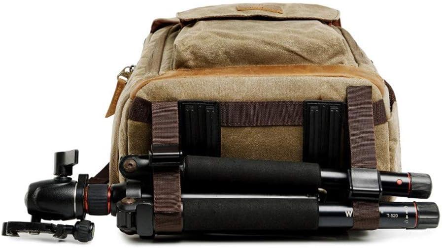 Rnwen Camera Backpack Waterproof Canvas Men and Women Shoulder Bag Liner SLR Digital Camera Bag Camera Cases Color : Khaki, Size : 30x19x42cm