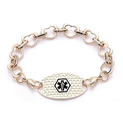 dafe9ed1dbd65 Amazon.com: Fashion Gold Heart Links Medical id Bracelet for Women ...