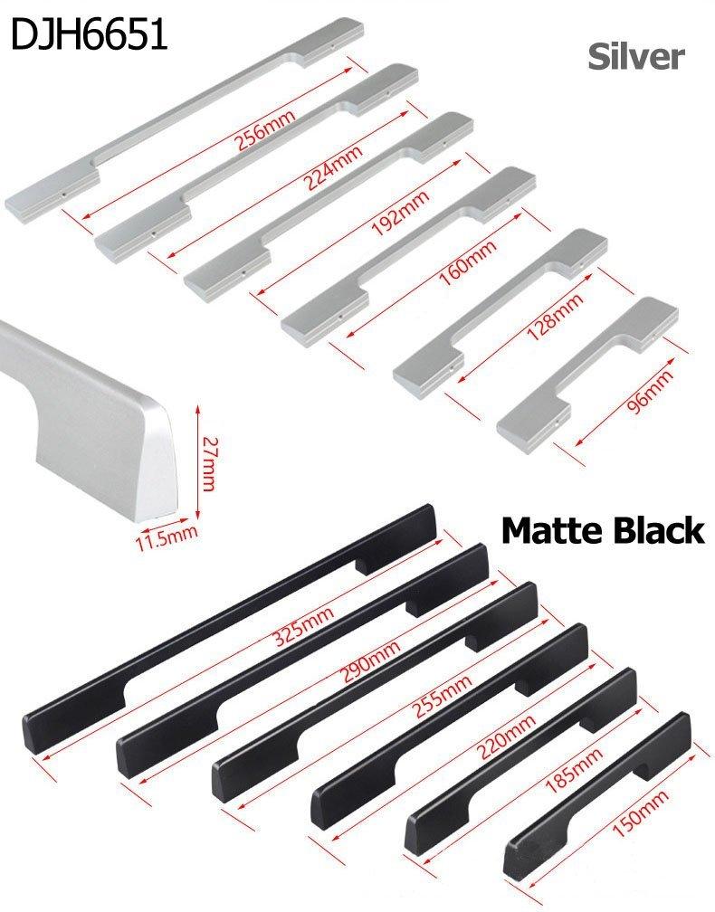 KFZ Kitchen Cabinet Hardware Drawer Pulls Door Knobs DJH6651 Matte Black Modern Aluminum Alloy Furniture Hardware (5, 3.78'' Hole Center)